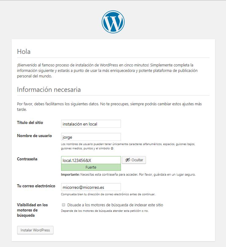 Aceptamos e instalamos WordPress, click en el botón → Instalar WordPress