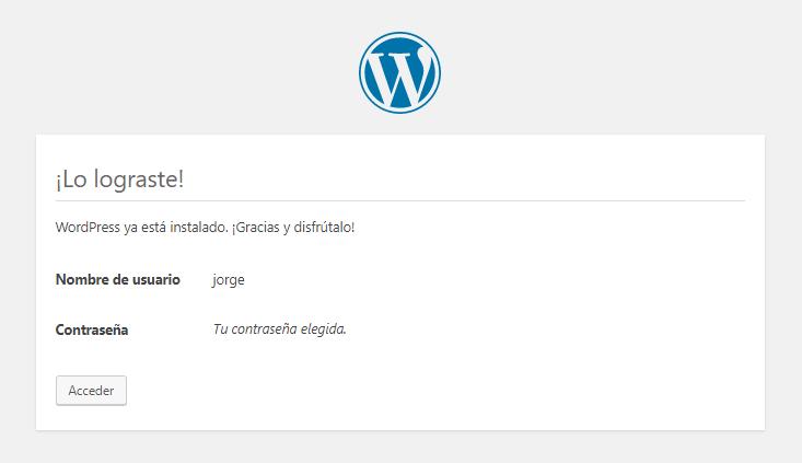 Nos indica el usuario y contraseña, click en el botón → Acceder