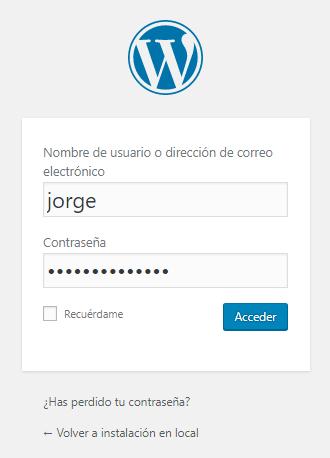 Ahora podemos acceder a nuestro panel de administración, click en el botón → Acceder
